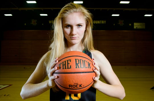 Vermont basketball forward Hanna Crymble poses for a portrait at Patrick Gym on Tuesday morning October 23, 2018 in Burlington. Hanna, a junior at UVM, was named to the America East Preseason All-Conference Team.  (BRIAN JENKINS/for the FREE PRESS)