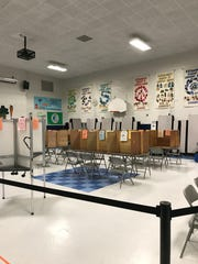 The polling stations are readied for Election Day, Nov. 6, 2018, at the Sustainability Academy at Lawrence Barnes in Burlington's Old North End neighborhood. Seen just after 6 a.m.