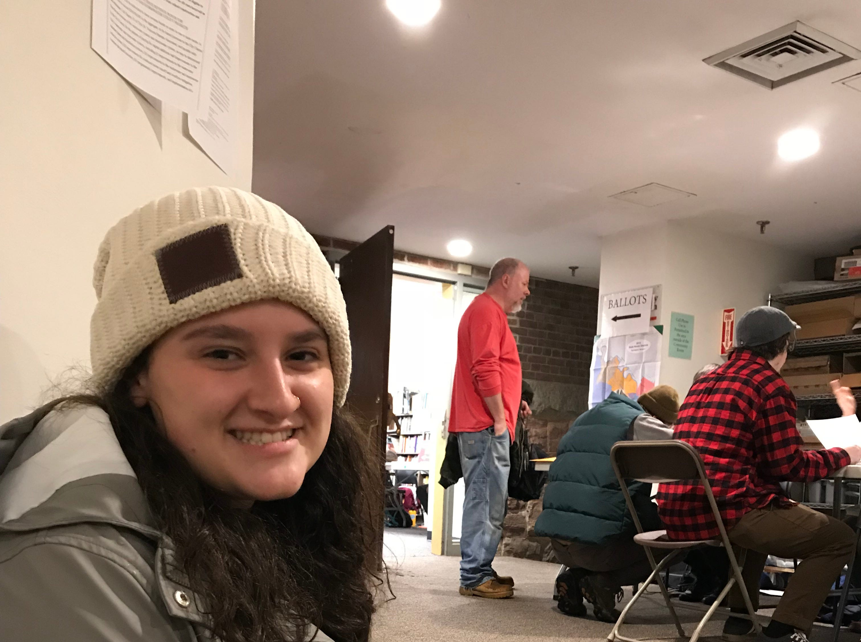 University of Vermont student Olivia Pietragallo seen before she voted at Burlington's Ward 8 polling station at the Fletcher Free Library on Tuesday, Nov. 6, 2018.