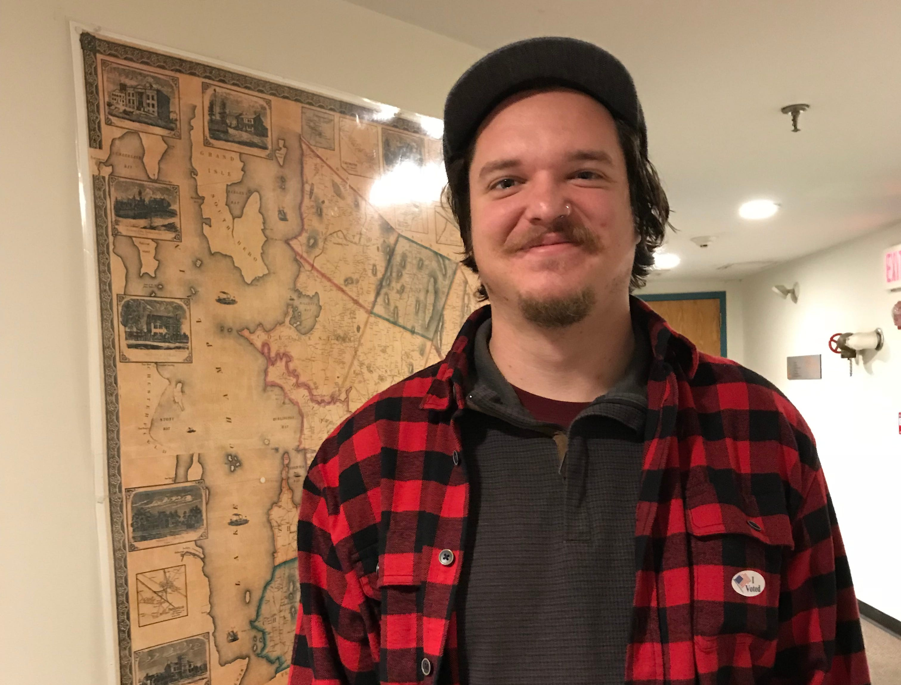 University of Vermont student Alec Tatro seen after he voted at Burlington's Ward 8 polling station at the Fletcher Free Library on Tuesday, Nov. 6, 2018.