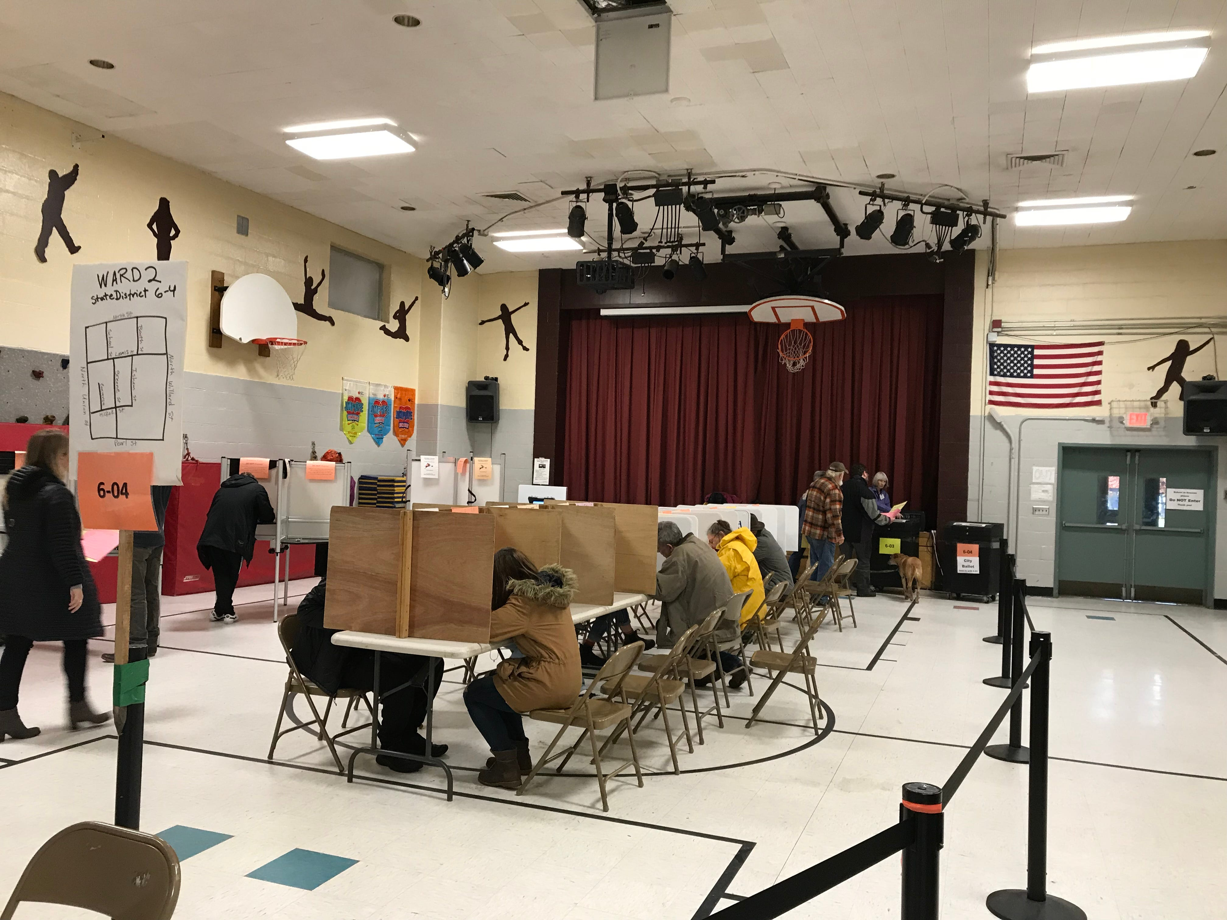 Ward 2 voters fill out their ballots at  H.O. Wheeler School, 6 Archibald St. in Burlington, on Tuesday, Nov. 6, 2018.