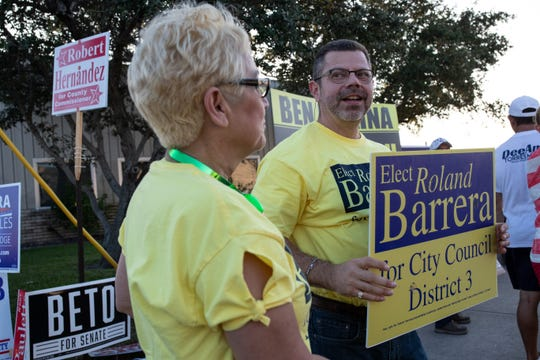 Candidate for Corpus Christi's City Council District 3 seat, Roland Barrera campaigns outside the Deaf and Hard of Hearing Center during election day on Tuesday, Nov. 6, 2018.