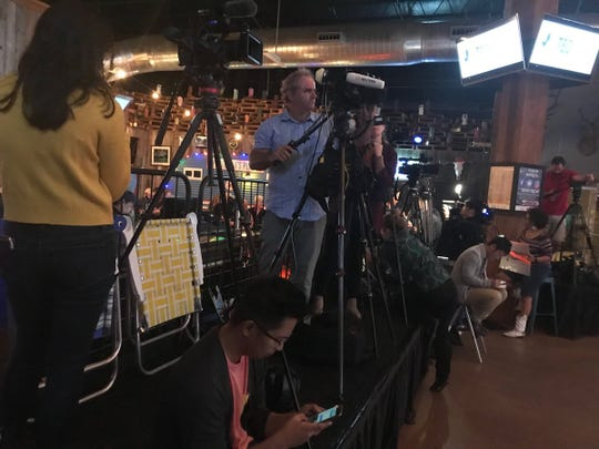 Reporters in place for the final rally of the 2018 midterms for Sen. ⁦Ted Cruz at the Redneck Country Club outside of Houston on Nov. 5, 2018.