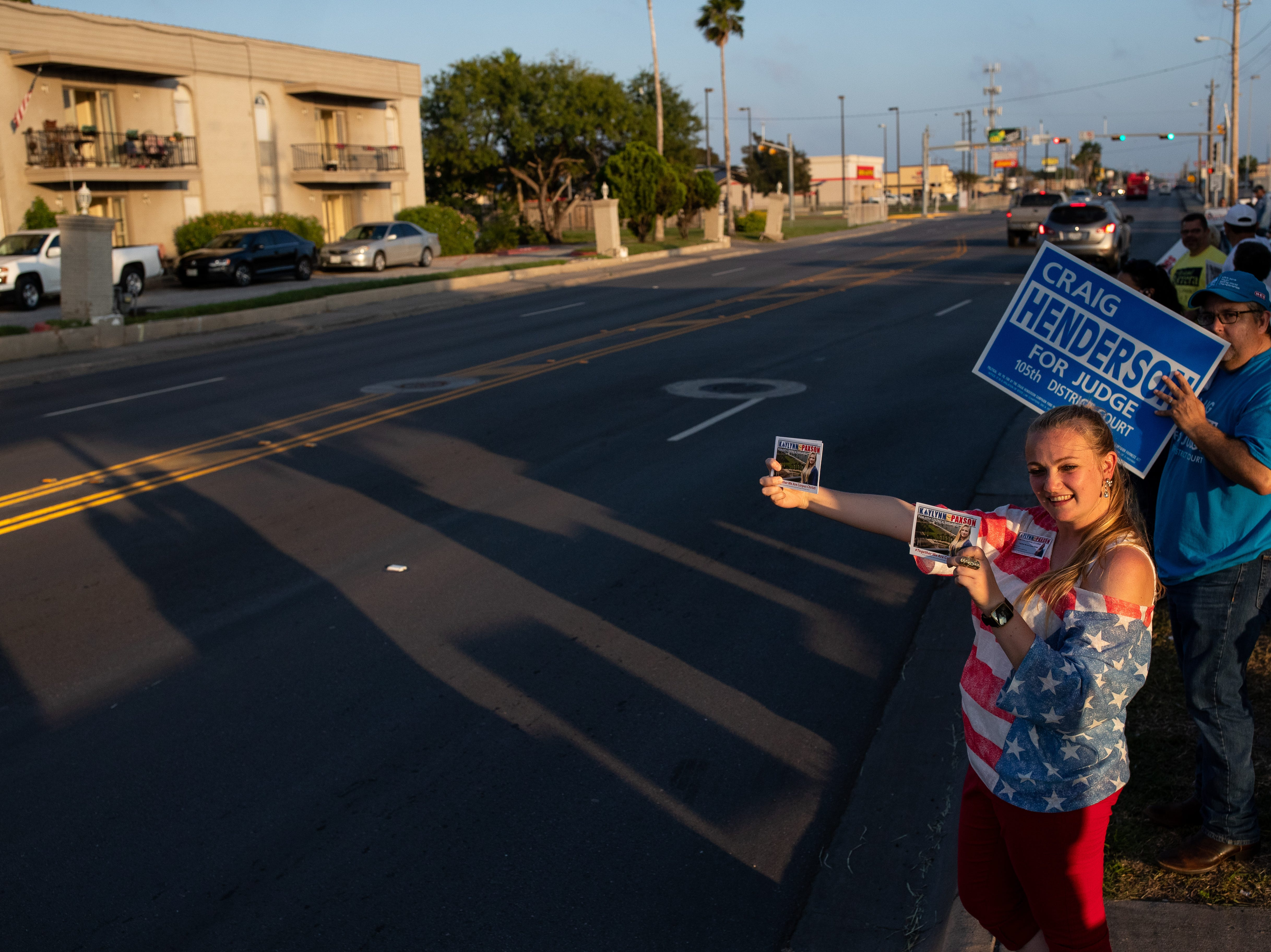 Candidate for Corpus Christi's City Council At Large seat, Kaylynn Paxson campaigns outside the Deaf and Hard of Hearing Center during election day on Tuesday, Nov. 6, 2018.