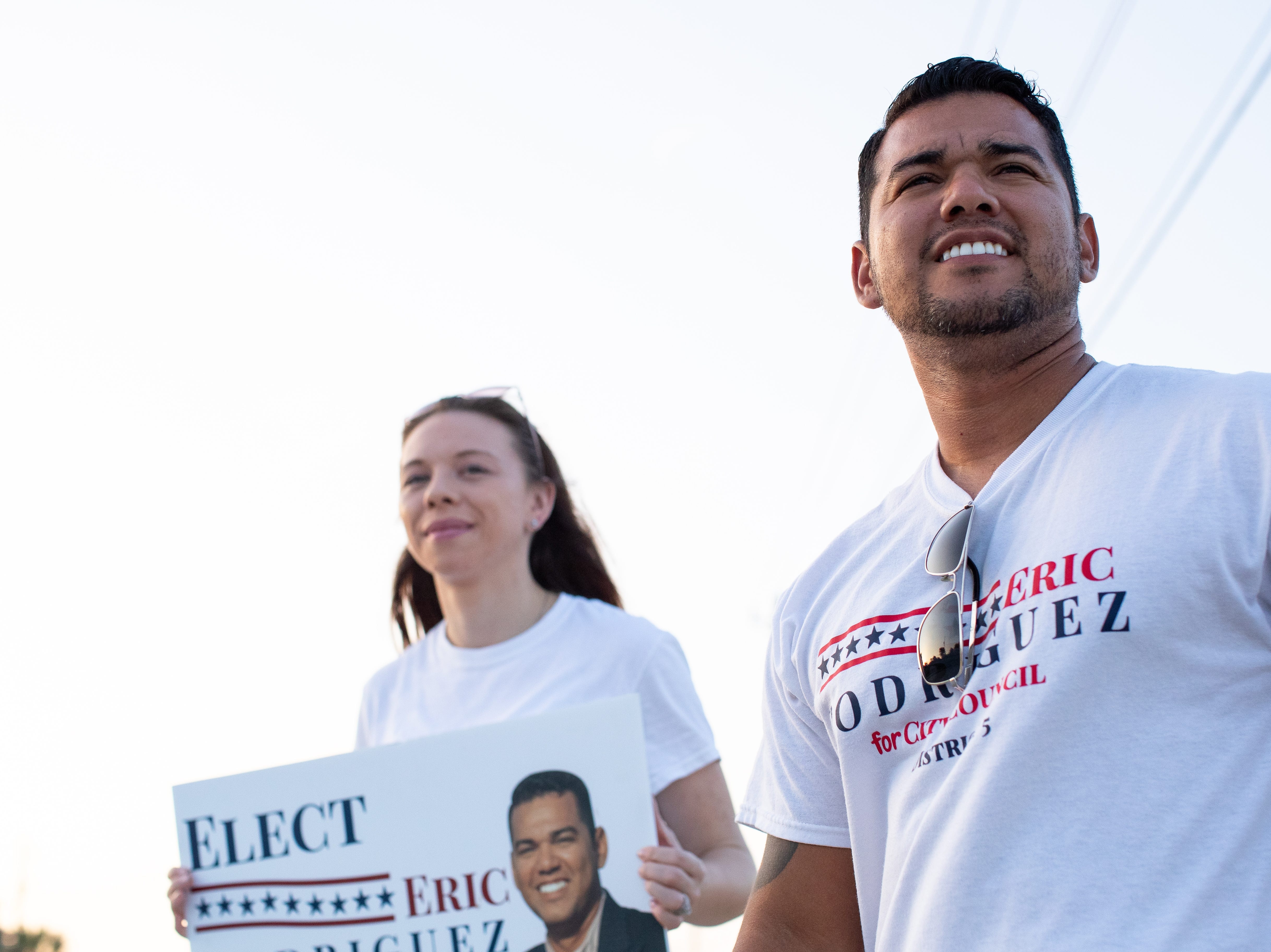 Candidate for Corpus Christi's City Council District 5 seat, Eric Rodriguez campaigns outside the Smith Elementary  School during election day on Tuesday, Nov. 6, 2018.