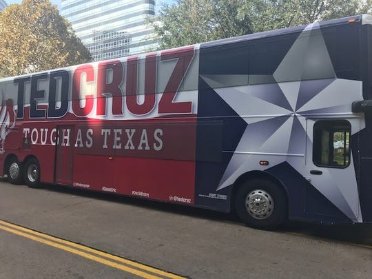 The Ted Cruz bus parked in front of the Houston hotel that will host the post-election party on Nov. 6, 2018.