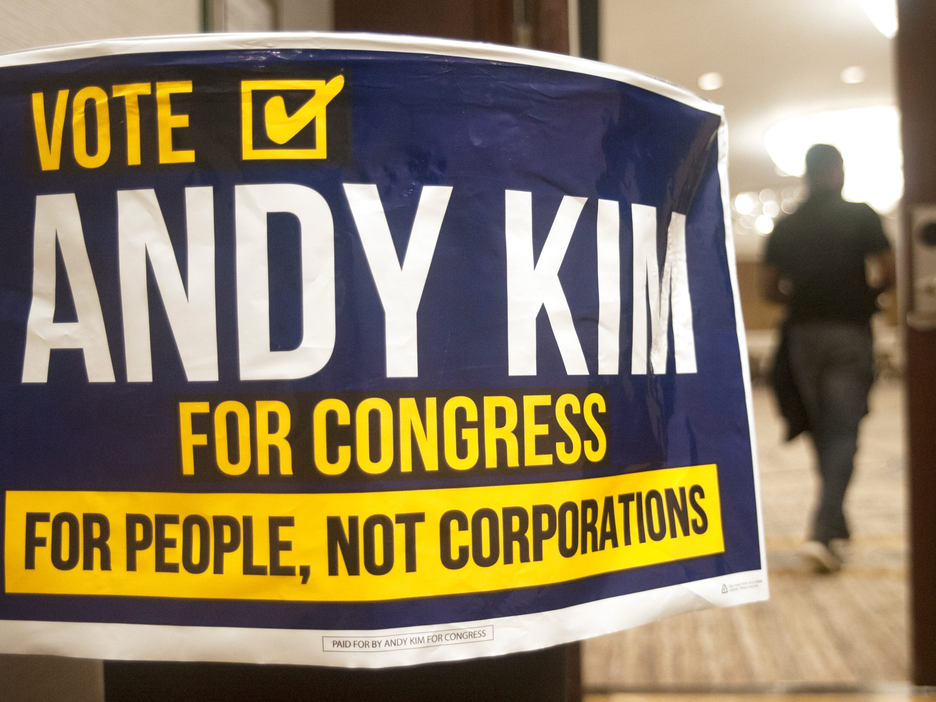 A ballroom at the Westin Mount Laurel is the election night headquarters for Democratic 3rd Congressional District candidate Andy Kim on Tuesday, November 6, 2018.