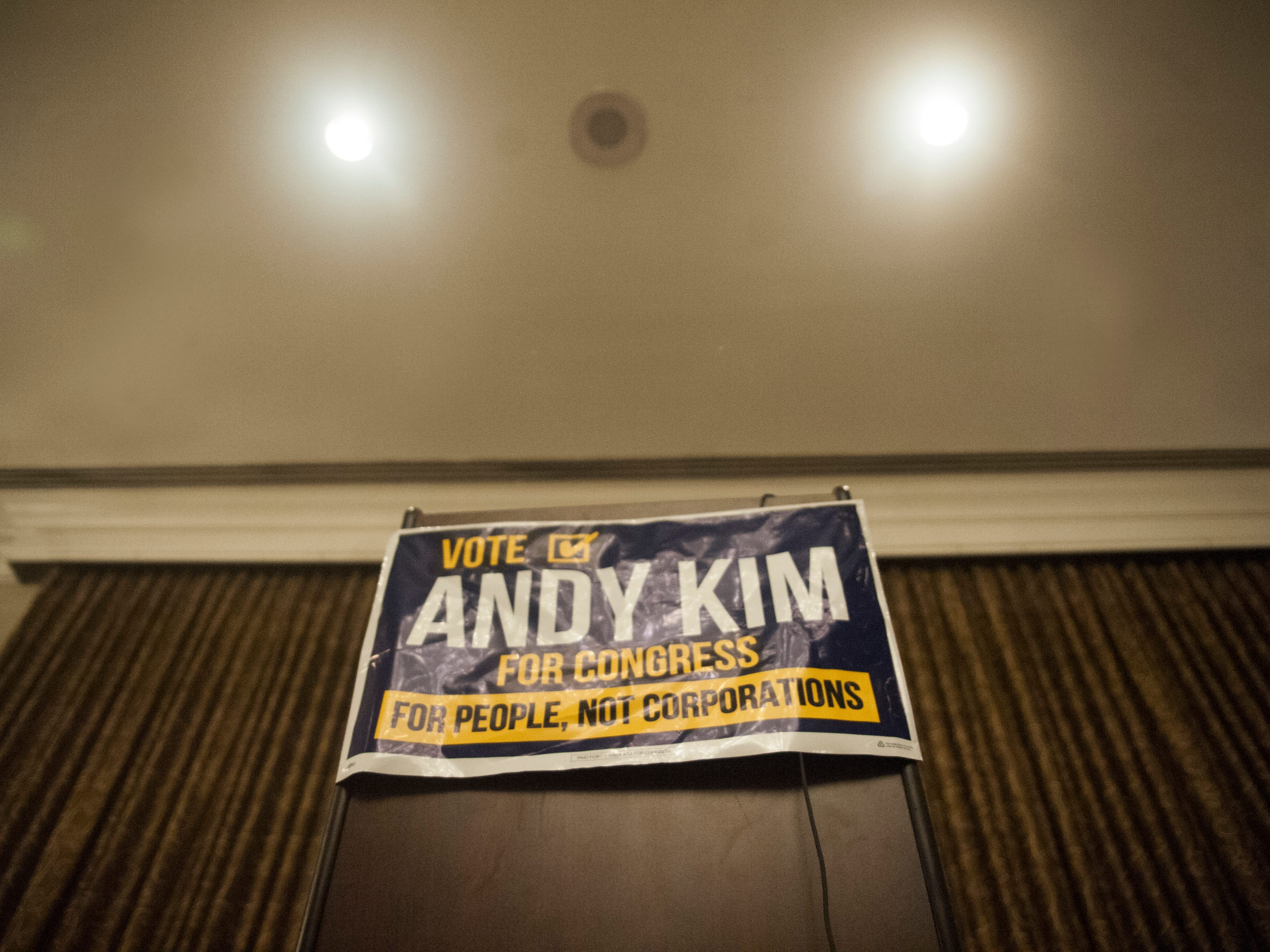 A podium is set in a ballroom at the Westin Mount Laurel, the election night headquarters for Democratic 3rd Congressional District candidate Andy Kim on Tuesday, November 6, 2018.