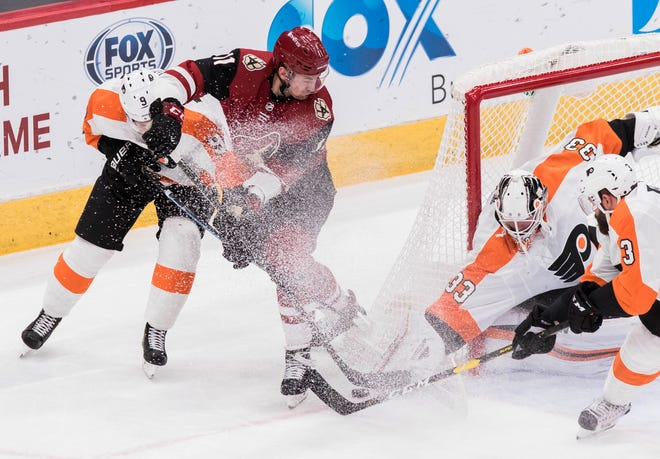 Flyers goalie Cal Pickard has stopped 65 pucks of the 71 he's faced over the last two games.