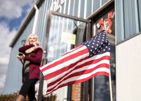 A flag marks the spot of several voting locations throughout Ross County Tuesday as people came out to vote on different candidates and issues.