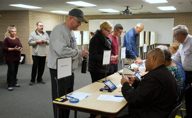 Lines formed at the Blue Ash Recreation Center even before the doors opening on Election Day at 6:30 a.m. A large turnout is expected throughout the day. Polls close 7:30 p.m.