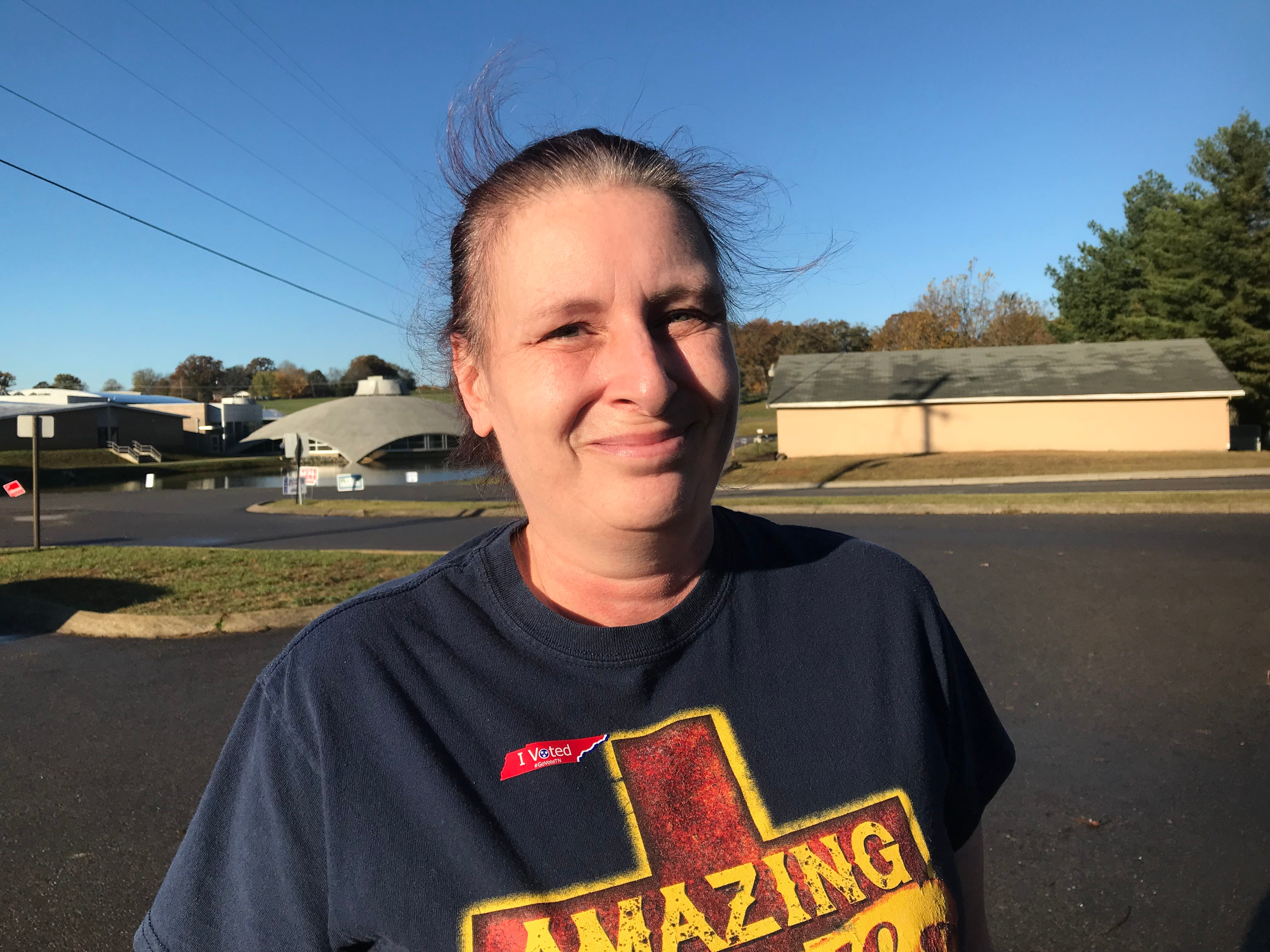 "Trina Stewart voted at Montgomery Central Middle School on Tuesday. ""I think we really need changes for sure in this country because it's people against each other, instead of coming together and making it better,"" she said. ""And I really don't want consolidation."""