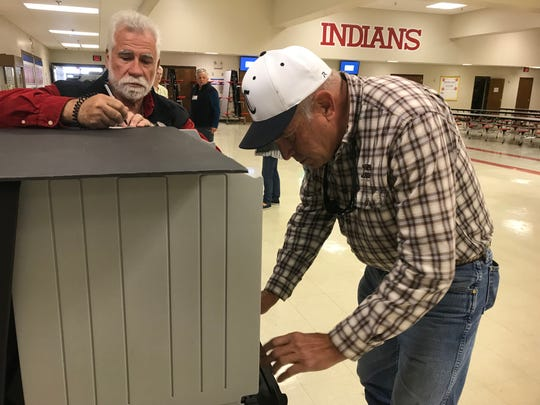 Rick Hellums casts his vote at Montgomery Central Middle School Tuesday morning.