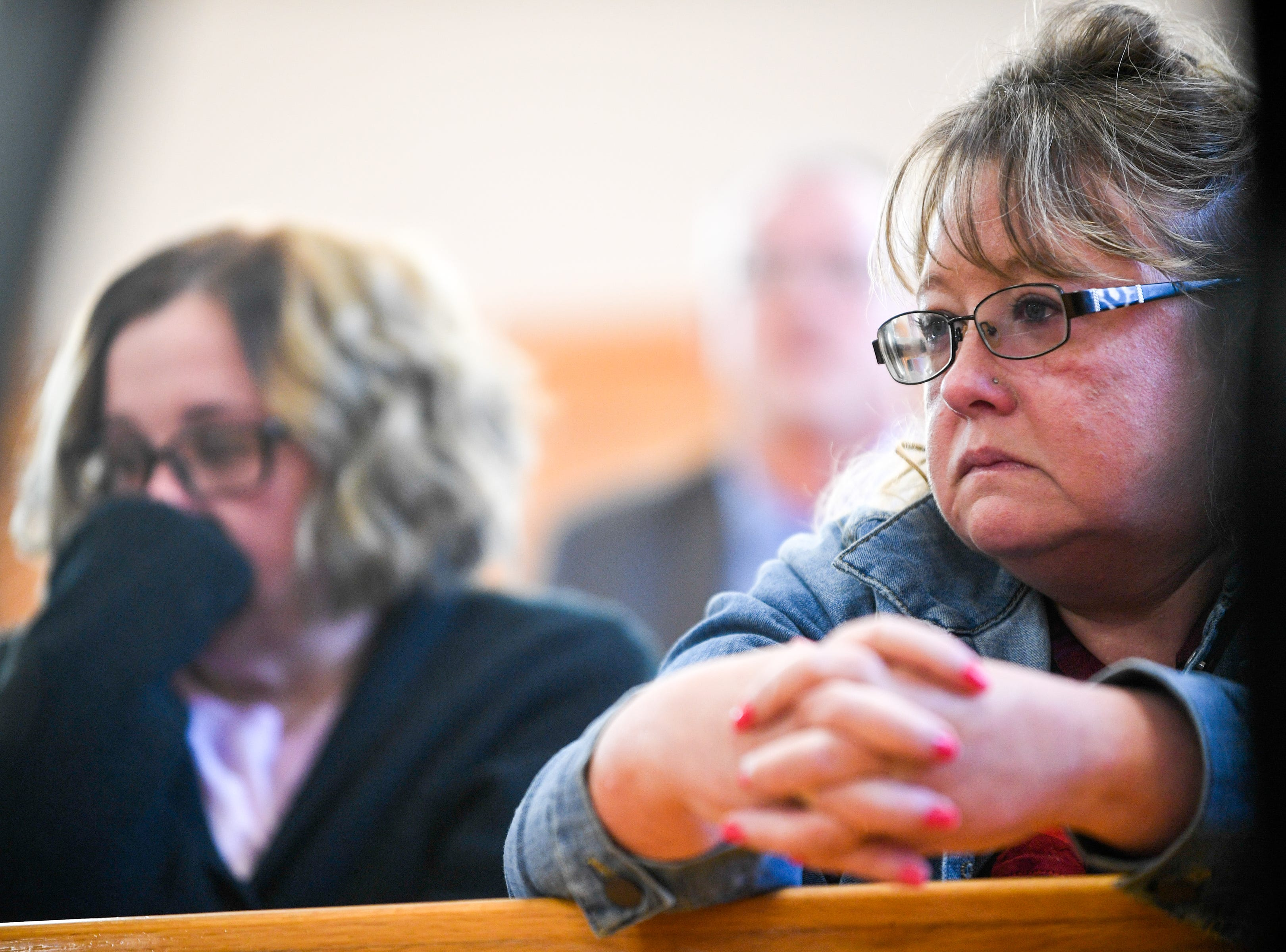 Karen Griffin watches the preliminary hearing of Kirby Wallace, 53, for charges including the killing of Indian Mound resident and Griffin's aunt Brenda Smith at the Stewart County Courthouse Tuesday, Nov. 6, 2018, in Dover, Tenn. Wallace was caught Oct. 5 following a seven-day manhunt that expanded into Montgomery County.