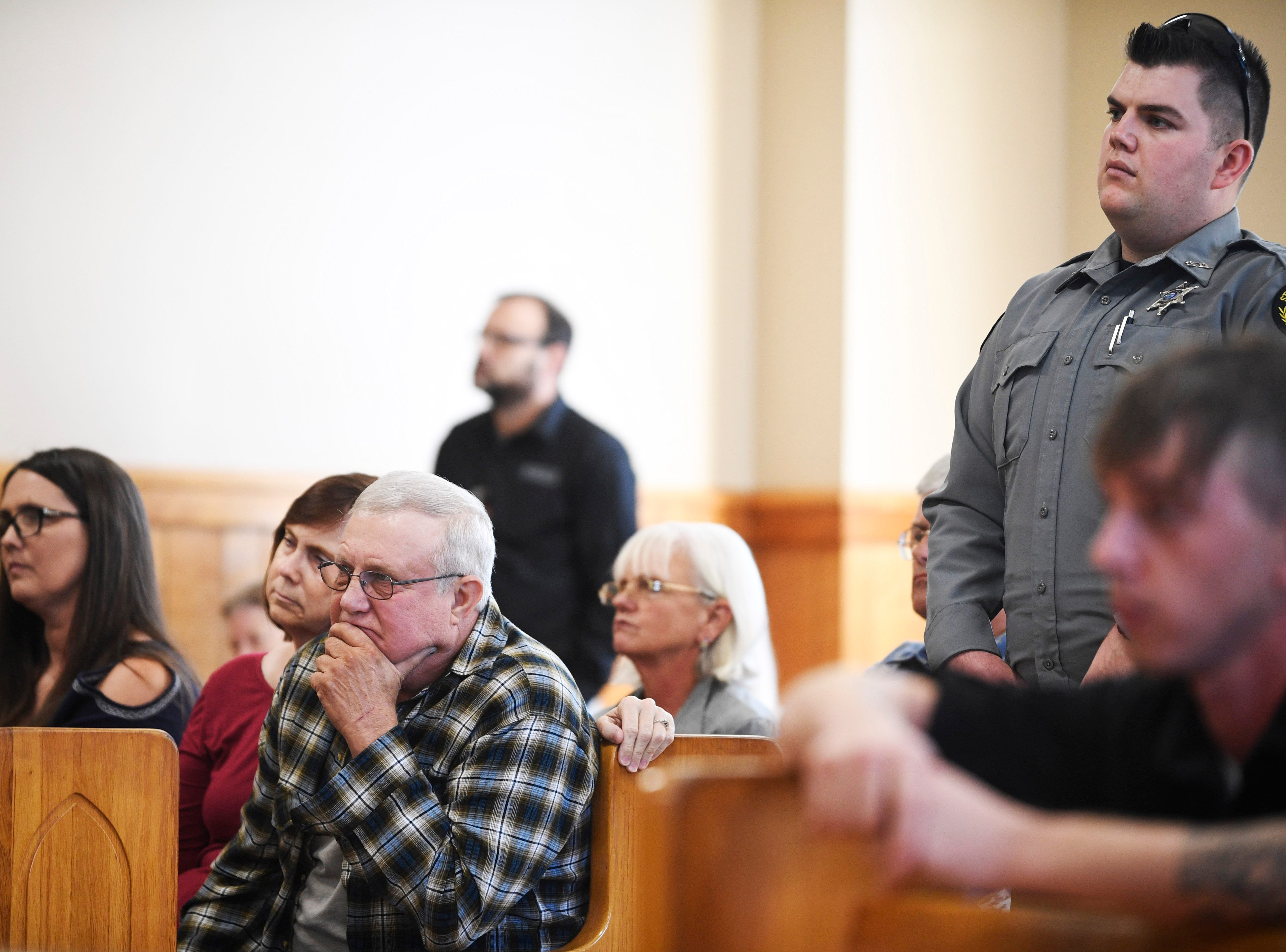 People gather in the courtroom during Kirby Wallace's preliminary hearing for charges including the killing of Indian Mound resident Brenda Smith at the Stewart County Courthouse Tuesday, Nov. 6, 2018, in Dover, Tenn. Wallace, 53, was caught Oct. 5 following a seven-day manhunt that expanded into Montgomery County.