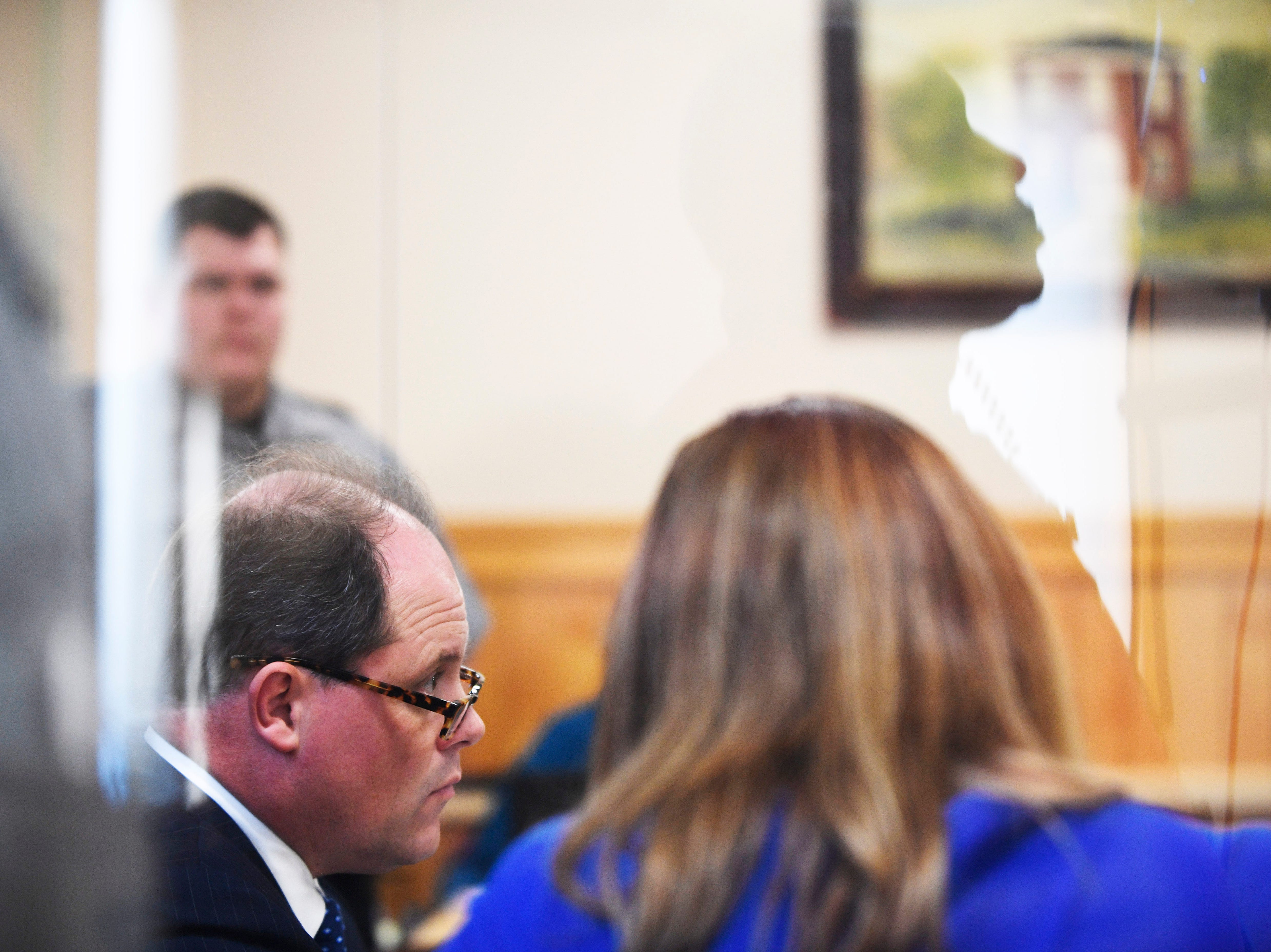 Defense attorney Tim Potter defends Kirby Wallace, 53, during the preliminary hearing for charges including the killing of Indian Mound resident Brenda Smith at the Stewart County Courthouse Tuesday, Nov. 6, 2018, in Dover, Tenn. Wallace was caught Oct. 5 following a seven-day manhunt that expanded into Montgomery County.