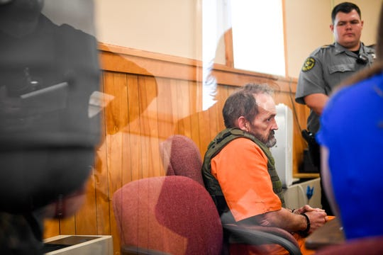 Kirby Wallace, 53, sits during his preliminary hearing for charges including the killing of Indian Mound resident Brenda Smith at the Stewart County Courthouse Tuesday, Nov. 6, 2018, in Dover, Tenn. Wallace was caught Oct. 5 following a seven-day manhunt that expanded into Montgomery County.