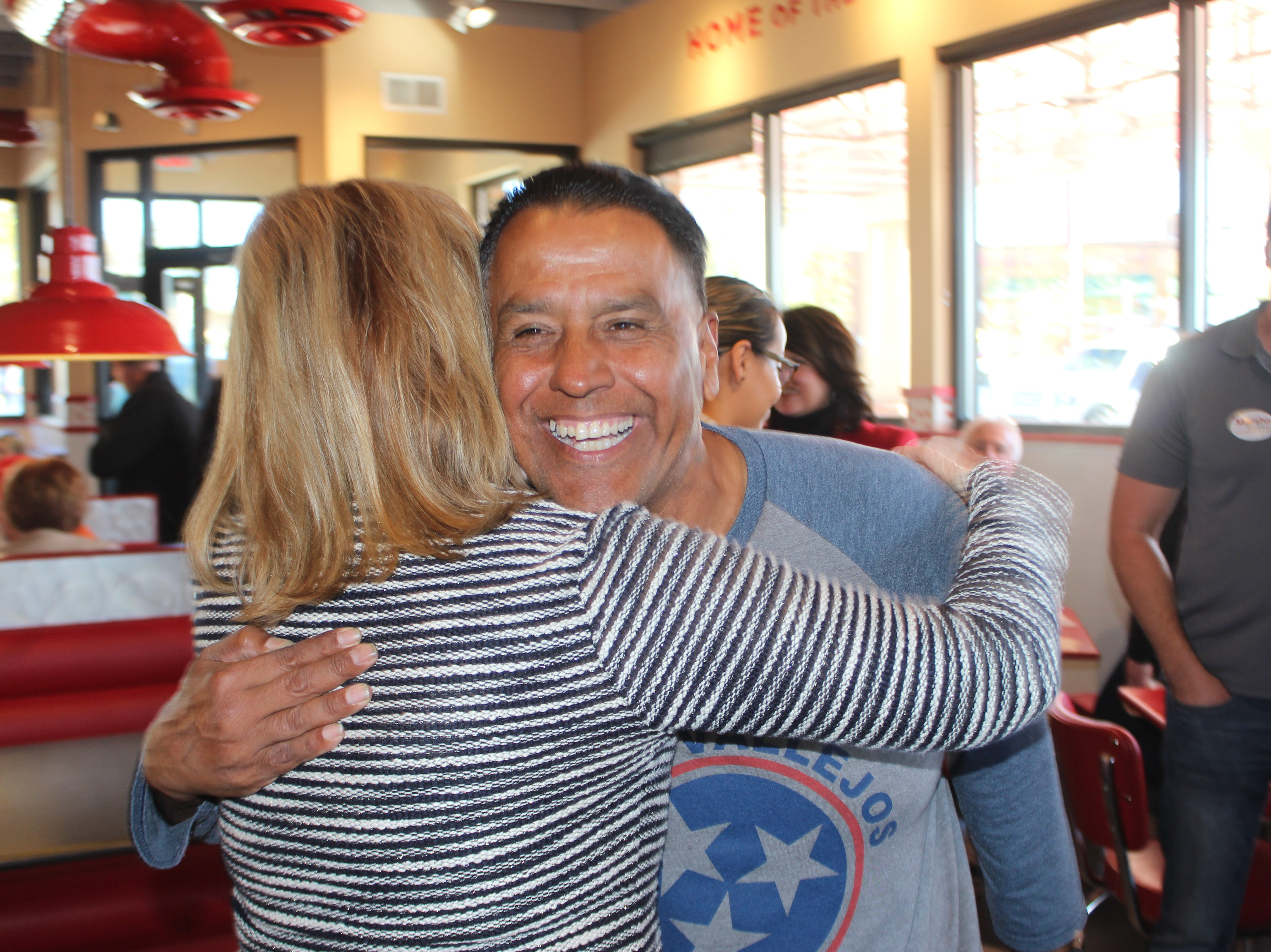 State House District 67 Republican candidate Tommy Vallejos greets Rep. Marsha Blackburn at her final campaign stop of her Senate campaign at Freddy's Steakburgers in Clarksville on Election Day, Nov. 6.