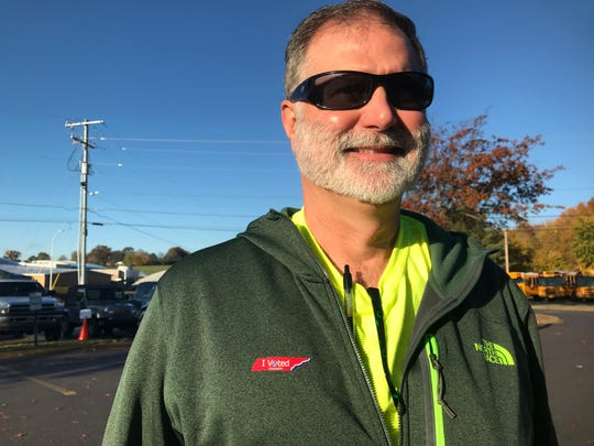 "Jeff Parchman voted at Montgomery Central Middle School on Tuesday. His primary mission was to make sure he did his part to defeat government consolidation. ""I just don't see where our county would benefit."""
