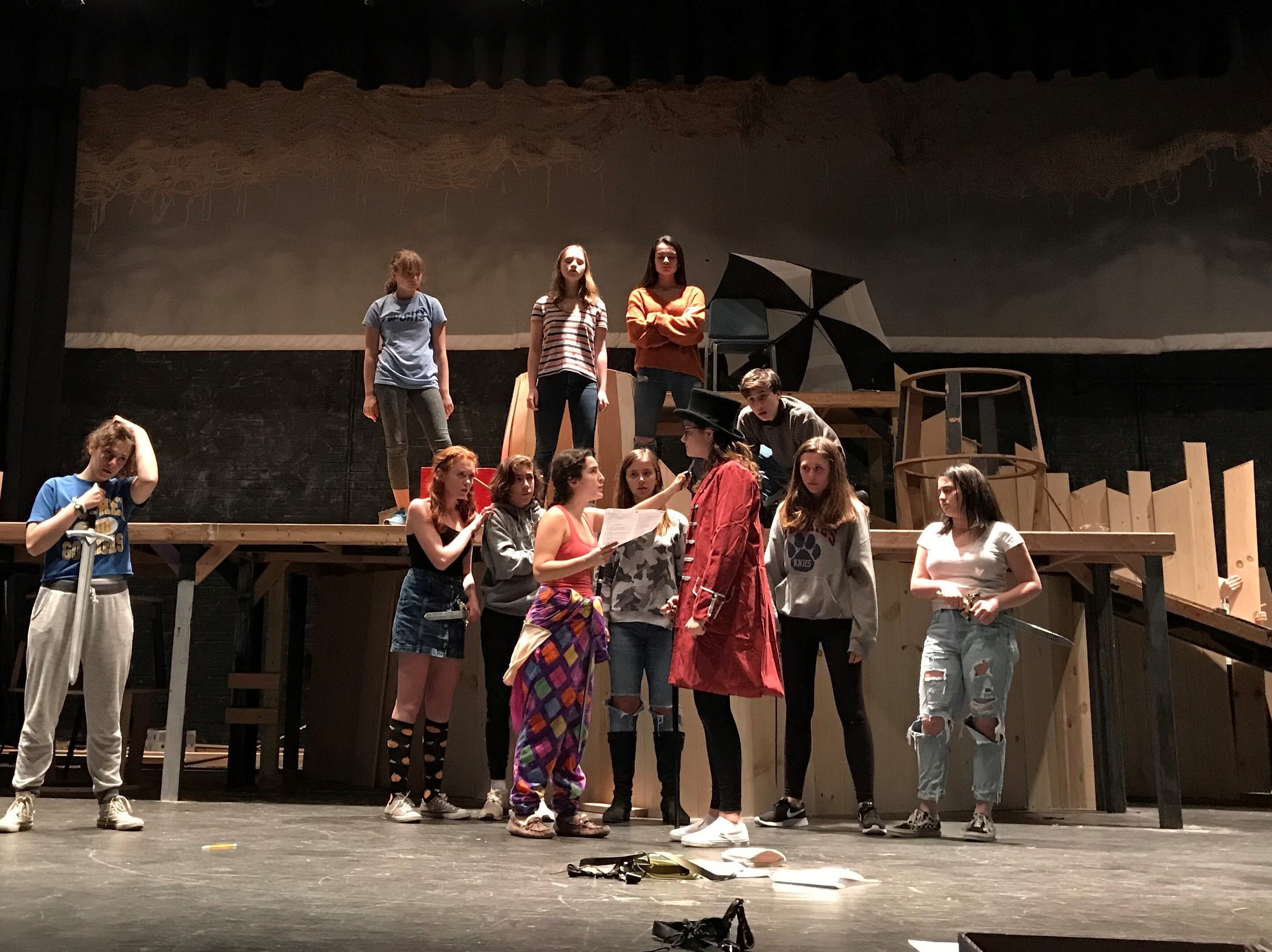 "The Westfield High School Theatre Department will present ""Rosencrantz and Guildenstern are Dead' on Thursday to Saturday, Nov. 15 to 17. Rehearsing back row (left to right) are Remi Shendell, Sophie Tananbaum, Elizabeth Rosenberg, and Anthony Butera, and front row (left to right) Abigail Painter, Alexandra Sica, Finn McGurn, Julia Salvato, McKenzie Waddell, Elisa Saint-Denis, Olivia Ebel, and Sophia Rossetti."