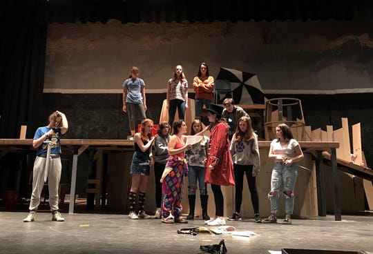 """The Westfield High School Theatre Department will present """"Rosencrantz and Guildenstern are Dead' on Thursday to Saturday, Nov. 15 to 17. Rehearsing back row (left to right) are Remi Shendell, Sophie Tananbaum, Elizabeth Rosenberg, and Anthony Butera, and front row (left to right) Abigail Painter, Alexandra Sica, Finn McGurn, Julia Salvato, McKenzie Waddell, Elisa Saint-Denis, Olivia Ebel, and Sophia Rossetti."""
