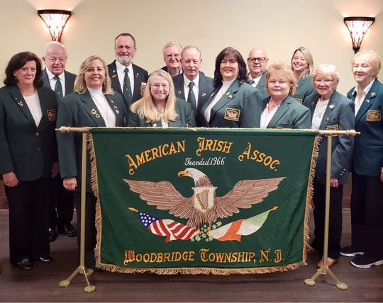 American Irish Association of Woodbridge 2018–2020 officers: (Left to right) Jane Bobel, corresponding secretary; Jack Cassidy, sergeant at arms; Cindy Jacovinich, treasurer; Sean Keaveney, director; Barbara Lasek, director; John Reitmann, director; Ed McSherry, vice president; Deborah Hutchinson, president, Ken Egan, director; Karen Devlin, financial secretary; Delores Boyd, recording secretary; Joan Ward, director, and Joan Dias, director.
