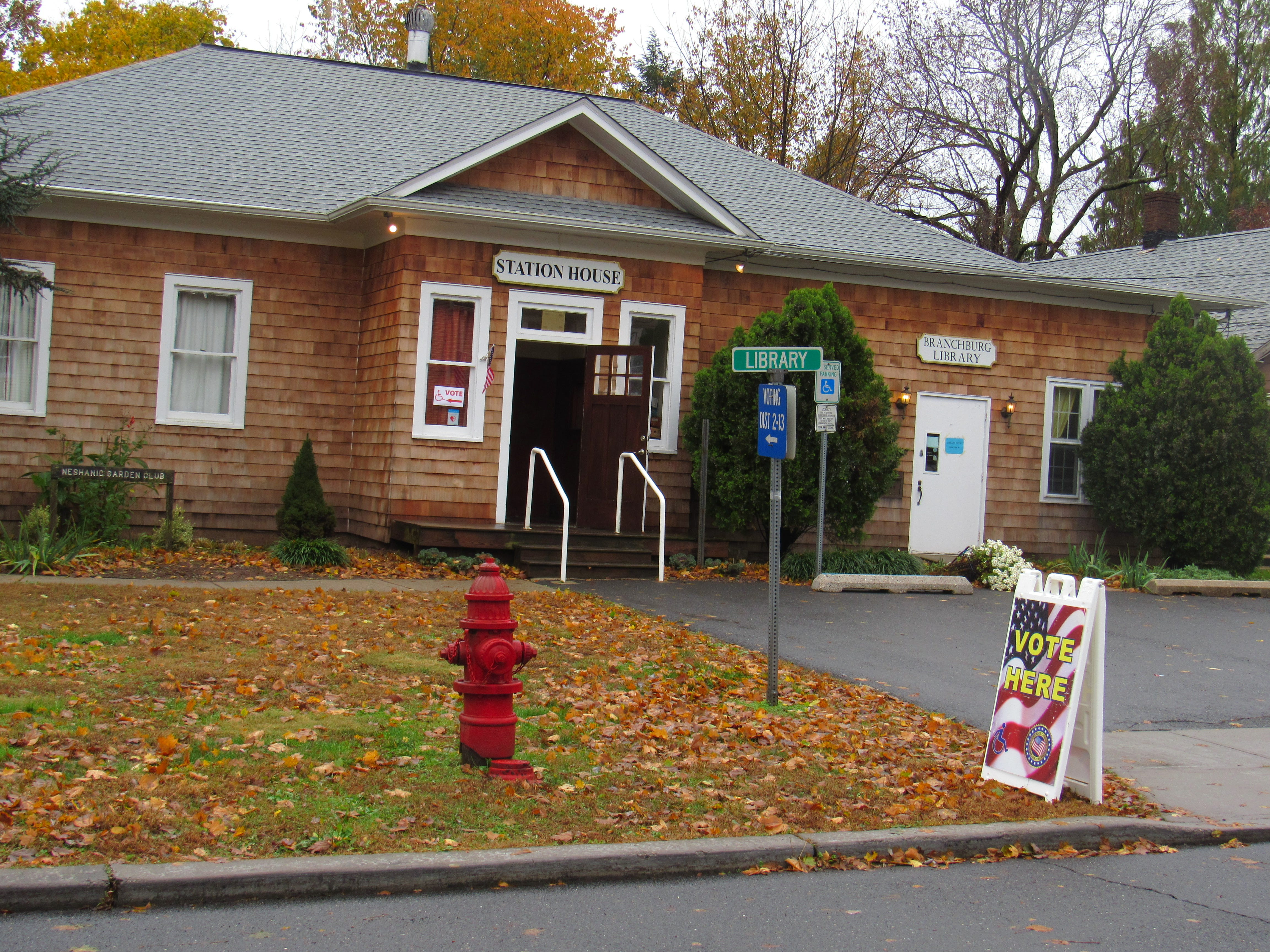 Despite rain earlier in the day, there was a steady stream of voters at the Station House in the Neshanic Station section of Branchburg.