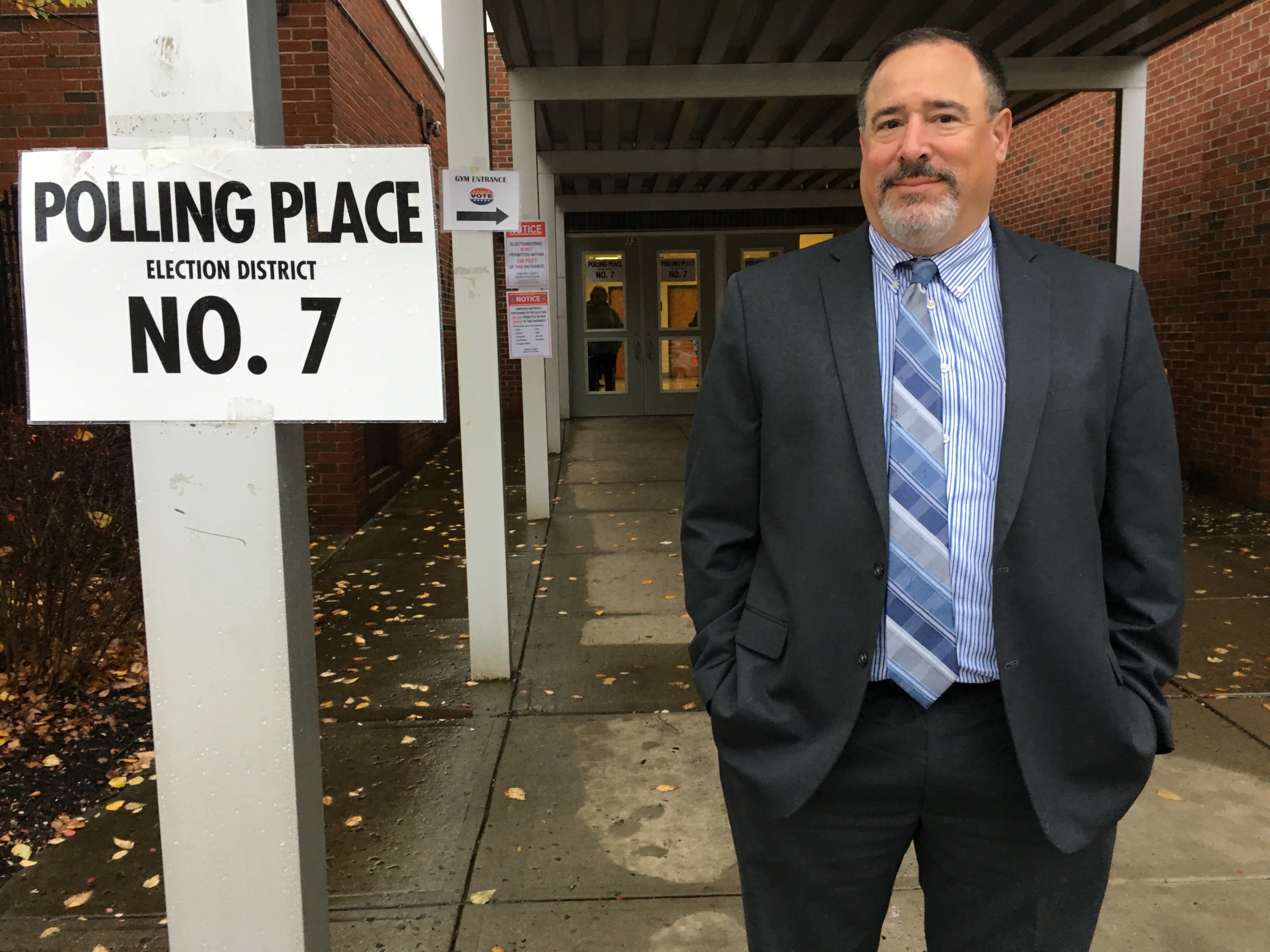 Michael Torrablbas voted at Vander Veer School in Somerville on Nov. 6.