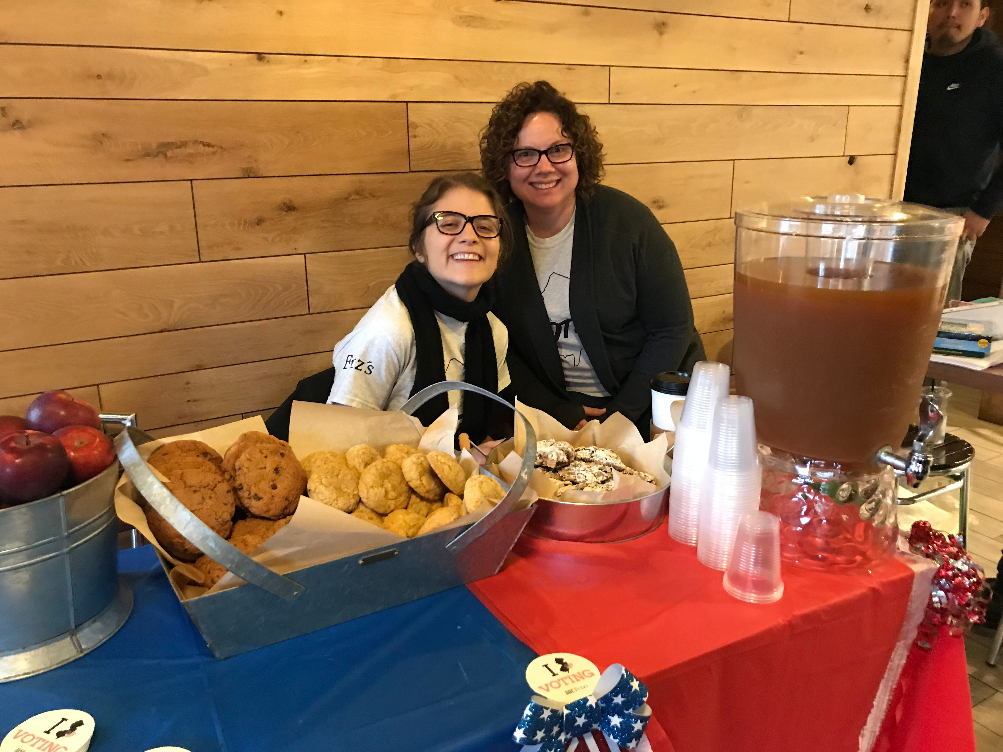 Candace Crane, Director of Community Impact, and Catherine Henderson, Early Learning Coordinator, served up cider, cookies and apples at the Voting Party hosted by the United Way of Central Jersey in New Brunswick.