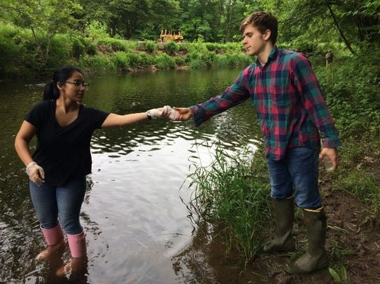 Rvcc Water Quality Interns Anabel Rosero And Stryker Schultz Sample The North Branch Of The Raritan River As Part Of Their Biweekly Stream Monitoring Work