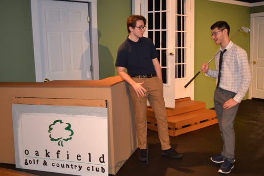 """From left: Colin Hankenson, who portrays David McGachen, and Dylan Freno, who portrays John Baker, rehearse a scene from Old Bridge High School's fall comedy,  """"Whose Wives Are They Anyway?""""  The play runs at 7 p.m. on Nov. 15 and 16 in the high school main auditorium.  The cost of a ticket is $10.  The show is under the direction of Jessica Tosonotti and student director Dylan Nowinski. Old Bridge High School is located at 4209 Route 516, Matawan."""