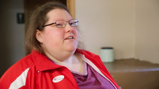 Molly Airhart, 32, after voting Tuesday, Nov. 6, 2018, in Lacona, Iowa.