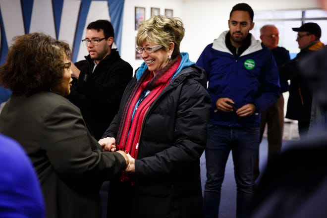 Charlotte Hubbell greets supporters at a canvass launch after casting his vote on Tuesday, Nov. 6, 2018, in Des Moines.