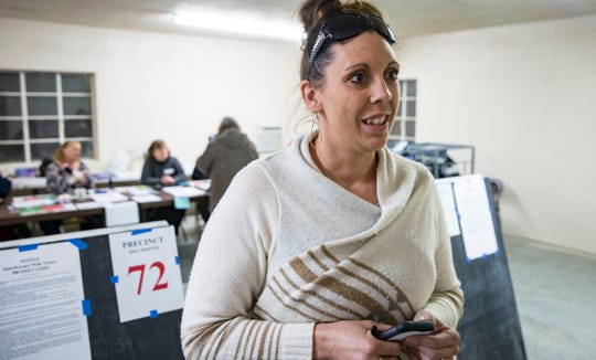 Jess Graber, 33, at Avon Lake polling station Tuesday, Nov. 6, 2018, near Carlisle.