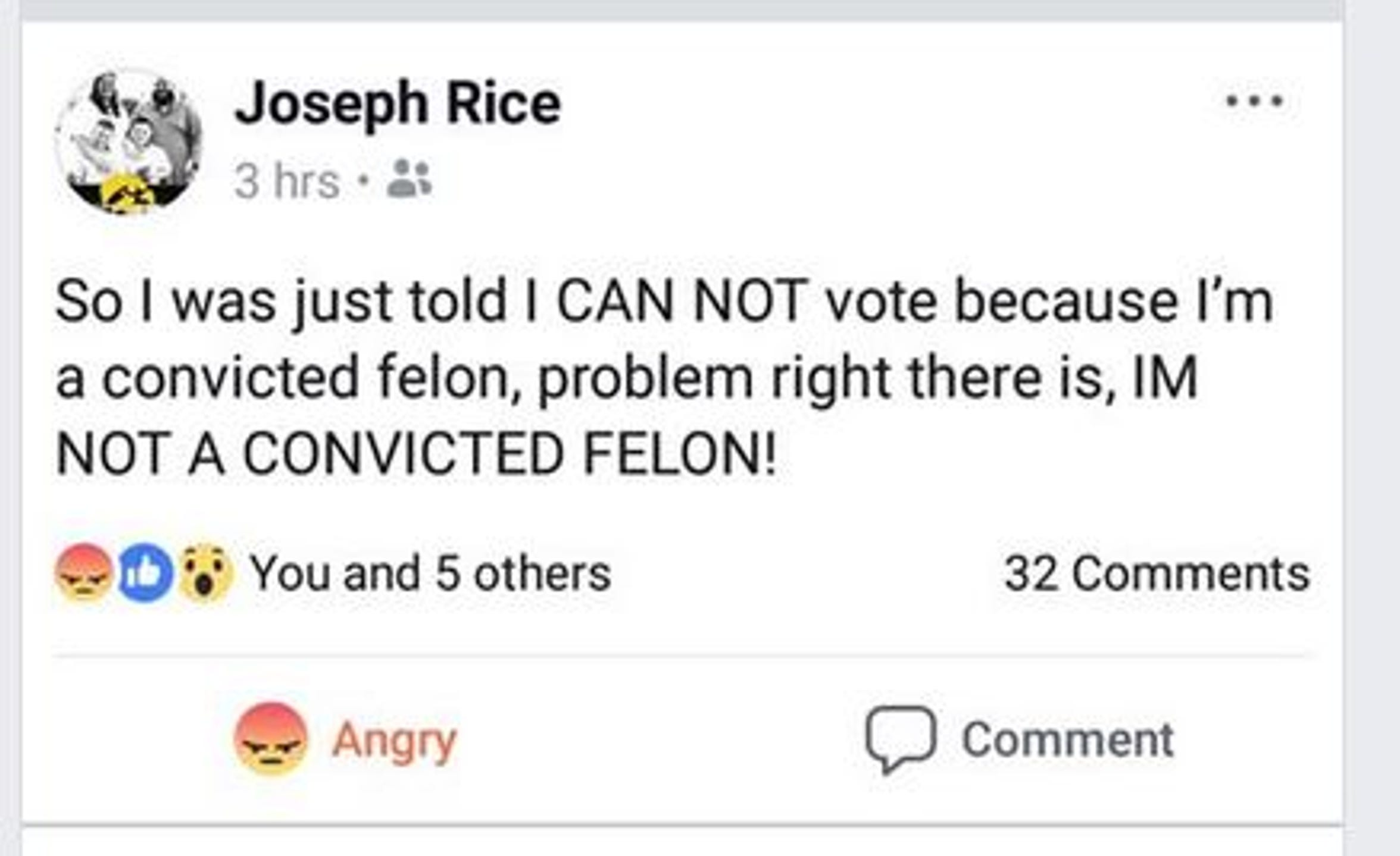 Joe Rice of Des Moines posted about his experience voting Tuesday, Nov. 6, 2018