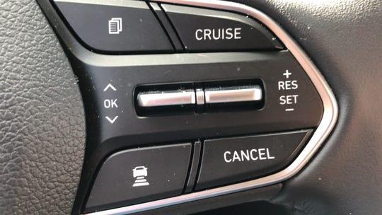 Adaptive cruise control is standard in the 2019 Hyundai Santa Fe