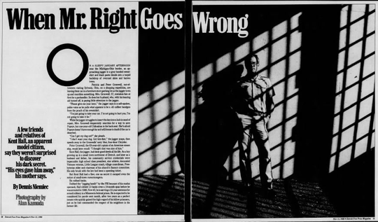 Kent Hall is featured in the Nov. 13, 1988 edition of the Detroit Free Press Magazine.