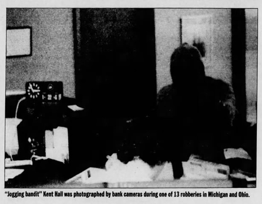 """Jogging bandit"" Kent Hall was photographed by bank cameras during one of 13 robberies in Michigan and Ohio, as seen in this photo from the Nov. 13, 1988 edition of Detroit Free Press Magazine."