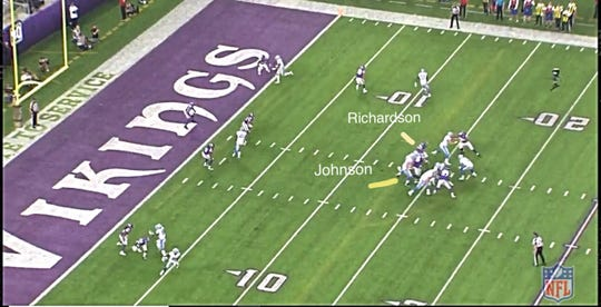 The Vikings' Sheldon Richardson and Tom Johnson sack Lions quarterback Matthew Stafford in the second quarter of the Lions' 24-9 loss on Sunday, Nov. 4, 2018, in Minneapolis.
