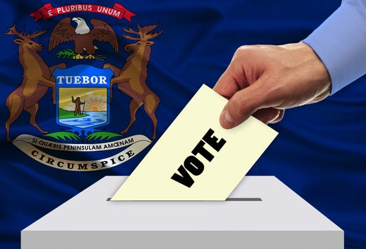 Man Voting On Elections In Michigan Usa Front Of Flag