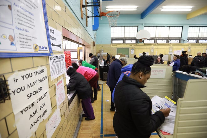 Detroit residents vote at Bow Elementary-Middle School in Detroit on Tuesday, Nov.  6, 2018.