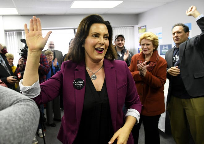 Democratic gubernatorial candidate Gretchen Whitmer waves at supporter during the campaign. The governor-elect is in Washington, D.C., Thursday (Dec. 13).