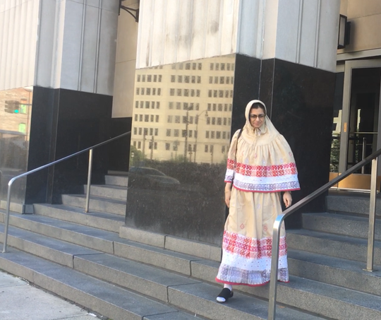 Dr. Jumana Nagarwala of Northville outside federal court in Detroit in September.
