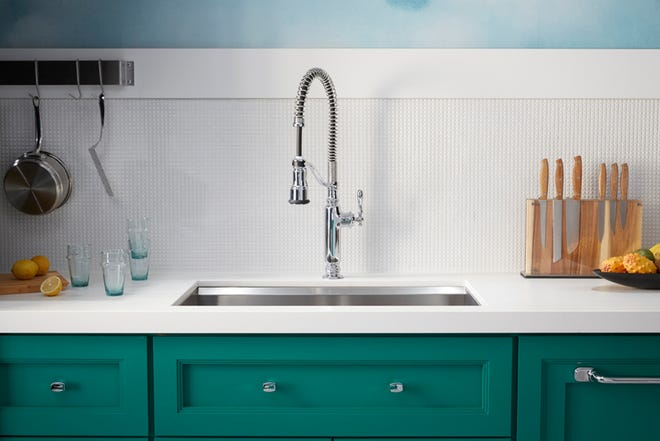 If you consider yourself to be a home chef or foodie in a high traffic residential kitchen, you may want to upgrade to a semi-professional kitchen faucet. (Kohler)