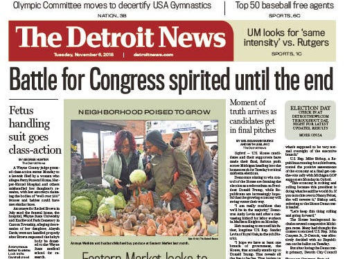 Front page of The Detroit News on Tuesday, November 6, 2018.