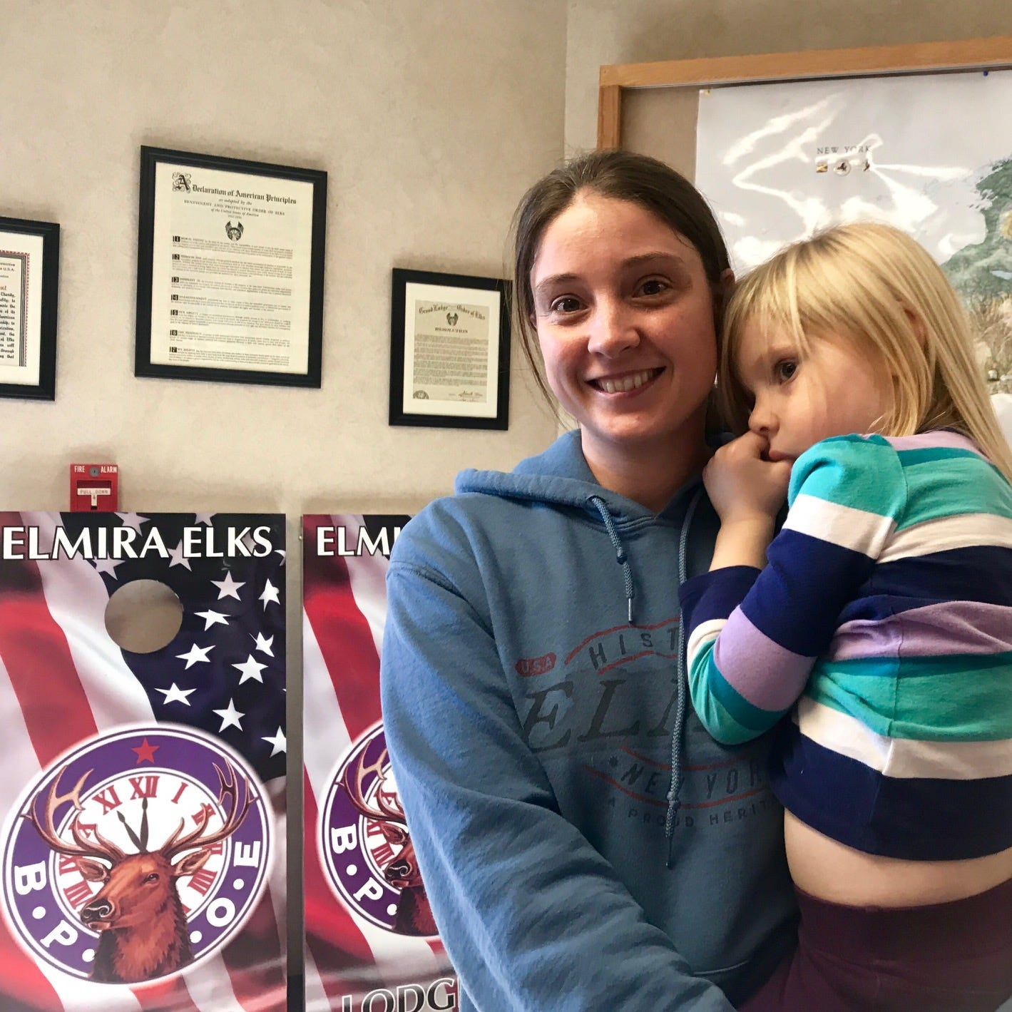 Anna Van Schoick of Elmira is a mother of seven and homeschools her kids. She brought them with her to vote on Tuesday.