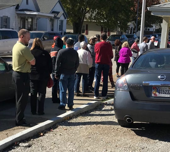 A line outside St. James West United Methodist Church around 11:15 a.m. Tuesday.