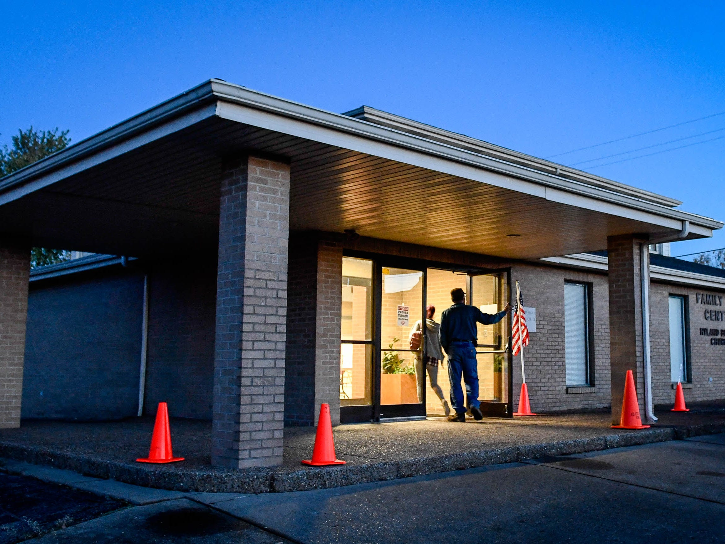 Voters arrive in the pre-dawn to cast their ballot at the Audubon Heights precinct on Letcher Street in Henderson Tuesday morning, November 6, 2018.