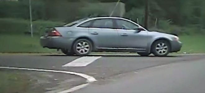 This Ford sedan was photographed by a camera on a Clyde-Green Springs school bus before a crash on Monday. The car's 89-year-old driver turned herself in on Tuesday and was cited in the crash, according to the Ohio Highway Patrol.