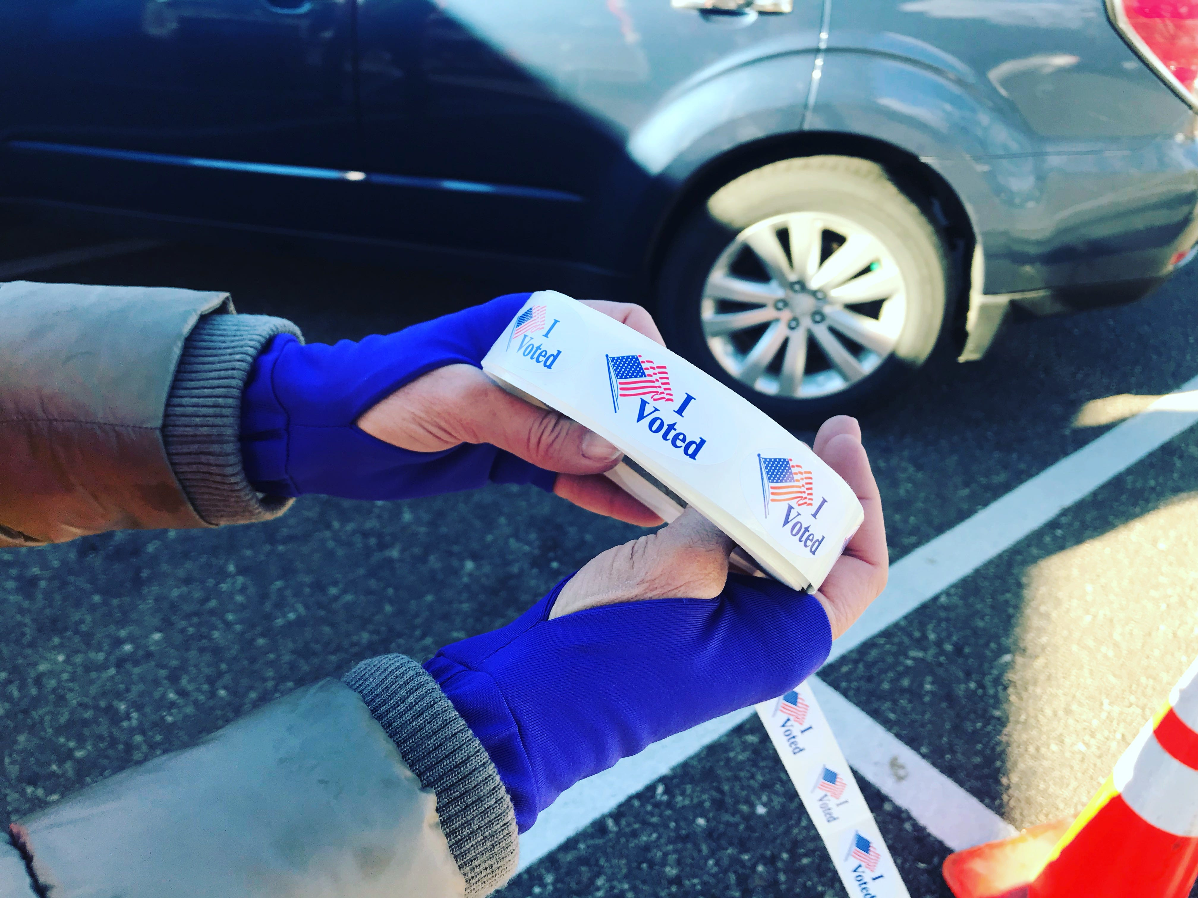"A roll of ""I Voted"" stickers at a drive-thru ballot drop-off location in Fort Collins on Election Day, Tuesday, November 6, 2018."